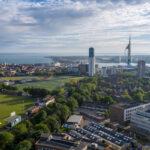 University of Portsmouth campus Birdseye view